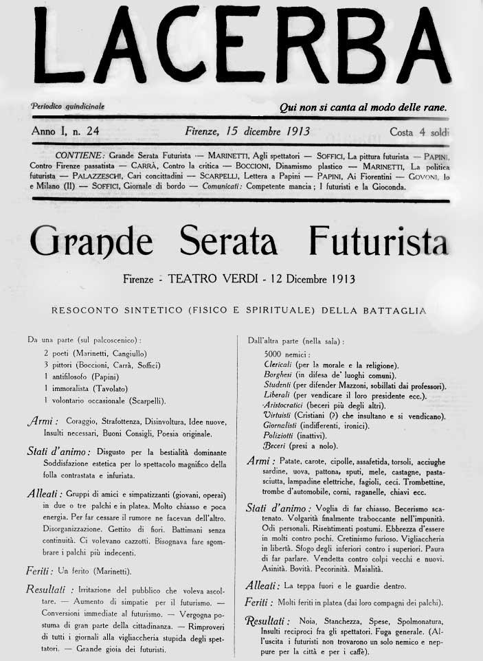 Front page of Lacerba, 15 December 1913, featuring article on Grande Serata Futurista