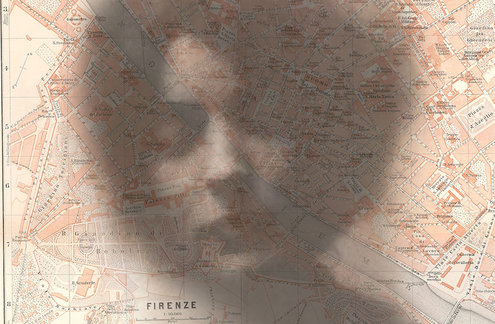 Head shot of Loy superimposed on Florence Baedeker Map