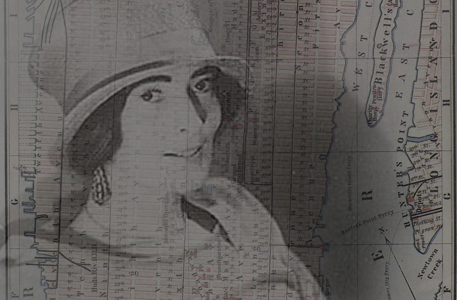 Mina Loy with overlaid parallax map of New York City