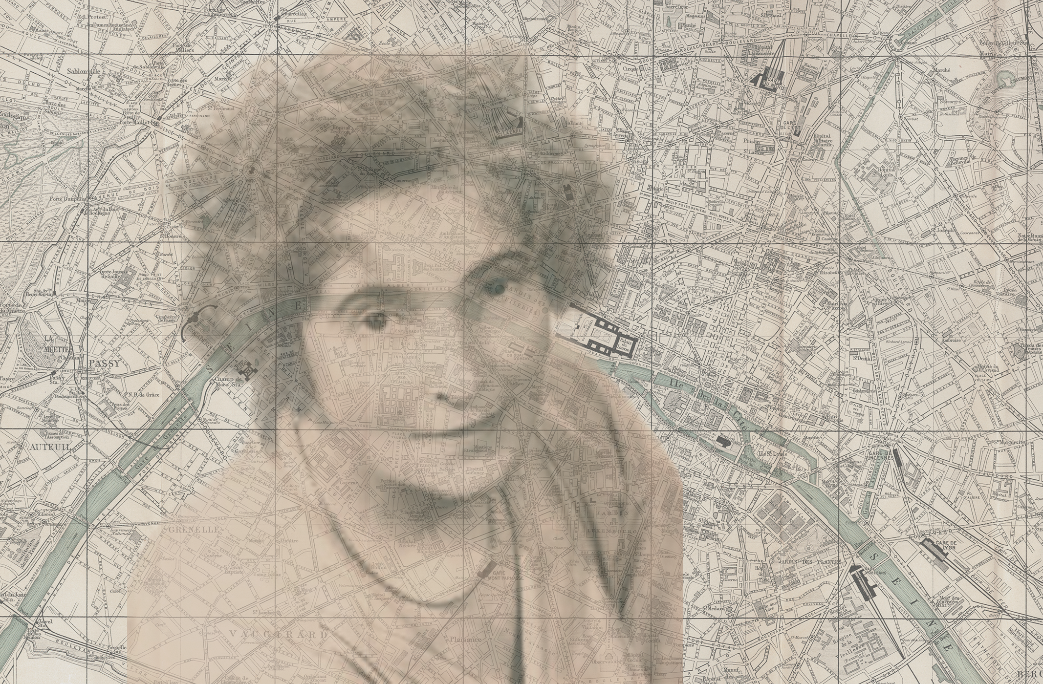 Mina Loy superimposed on Paris map