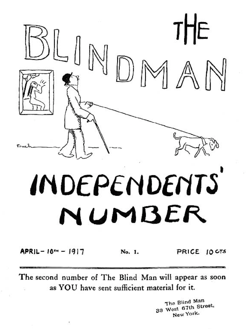 cover of The Blindman with man and dog c.1917