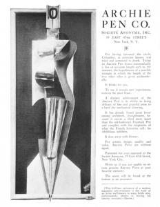 advertisement for Archie Pen Co.