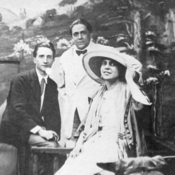 black and white photograph of Marcel Duchamp, Francis Picabia, and Beatrice Wood taken at the Broadway Photo Shop in New York City c.1917