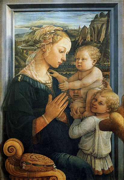 painting of Madonna with Child and Two Angels, by Fra Lippo Lippi