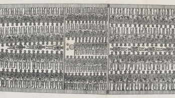 cross section drawing of ship carrying enslaved people