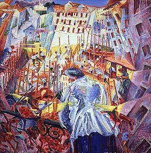Painting of street scene by Boccioni