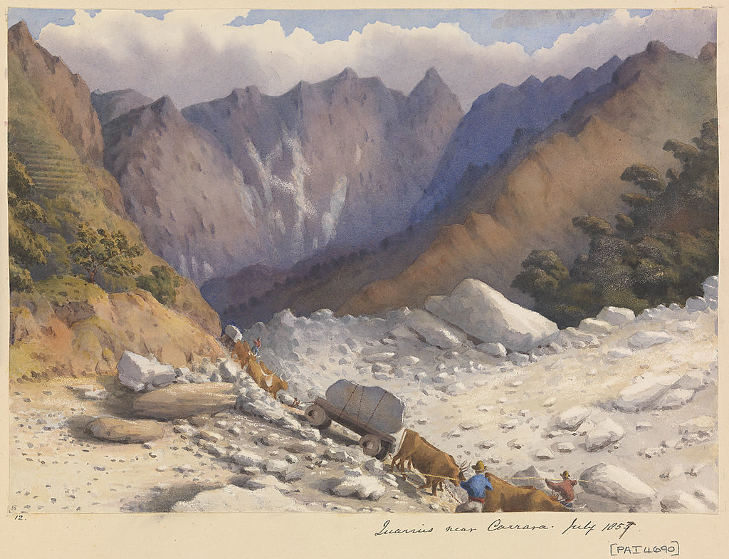 painting of Carrara Quarries by Edward Gennys Fanshawe c.1857