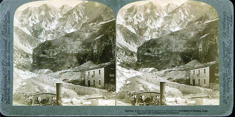 Stereocard of Quarried near Carrara c.1902