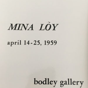 cover of Mina Loy exhibition at the Bodley Gallery in New York City c.1959