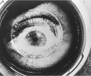 close up of eye in camera lens