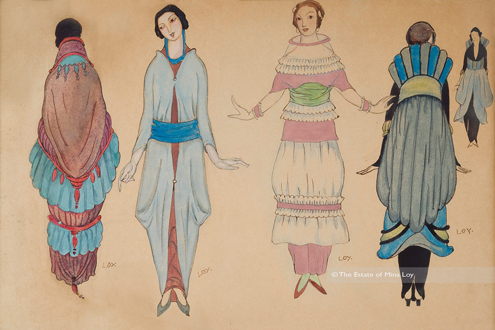 drawing by Mina Loy of 4 women's dresses, one show front and back