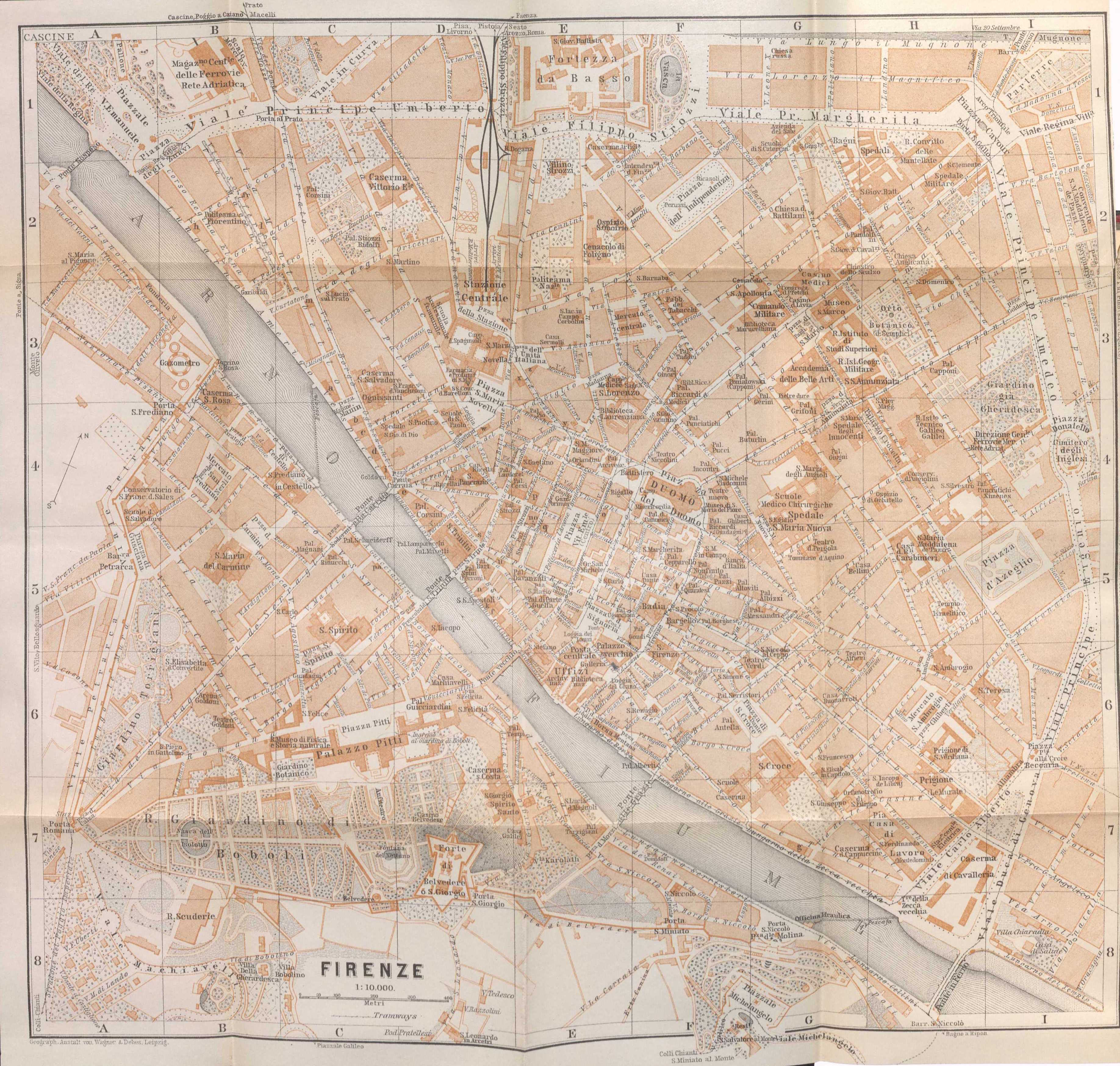 Baedeker map of Florence 1906