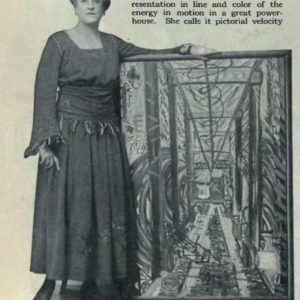 image of Frances Stevens standing beside her futurist painting