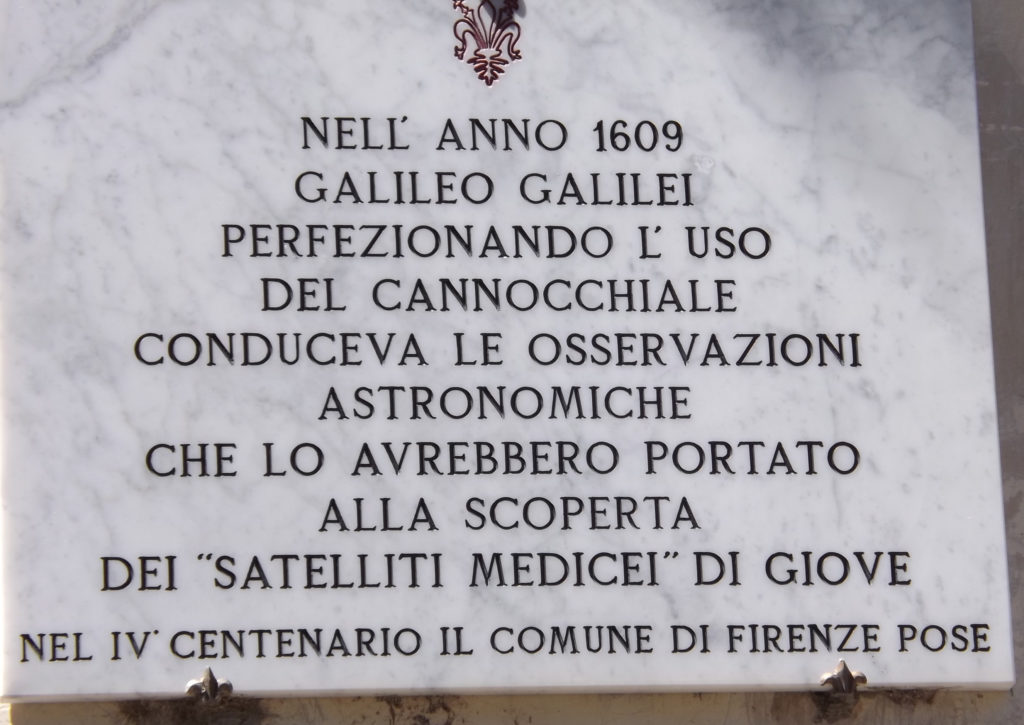 Plaque at house of Galileo