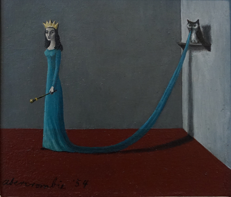 painting of slim female figure dressed in blue standing in empty room, her train attached to shelf on wall on which stands an owl