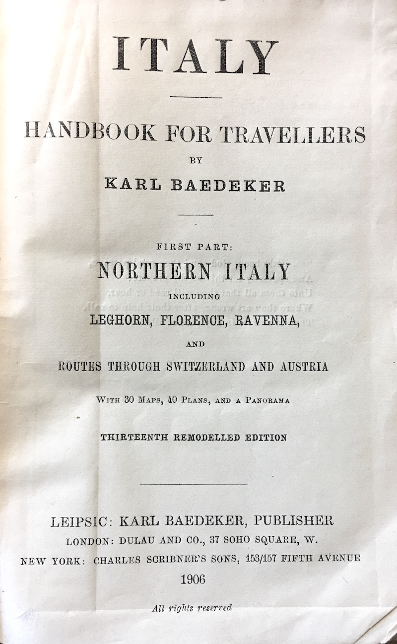 title page of Italy Baedeker 1906