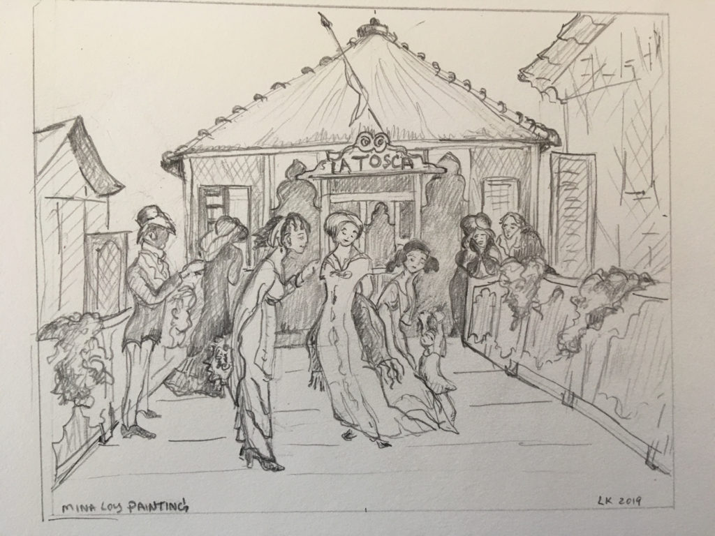 pencil drawing of figures in front of theater
