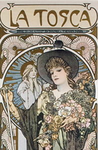 poster of woman in hat holding flowers in poster for La Tosca
