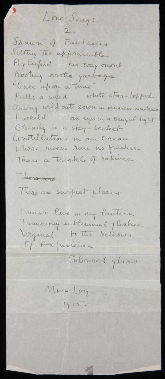 handwritten draft of Loy's love songs