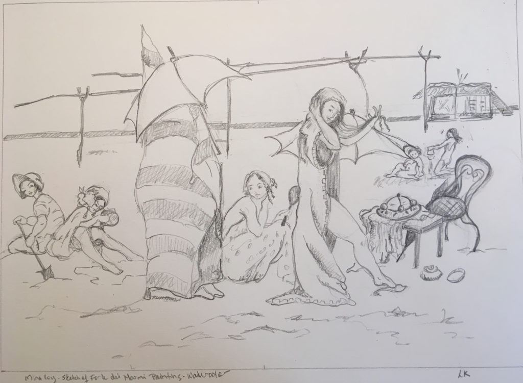 Pencil sketch of seaside scene