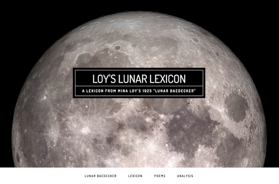 homepage of Loy's Lunar Lexicon featuring large black & white photo of the moon
