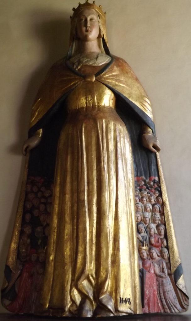 Mary protecting the faithful, bas relief