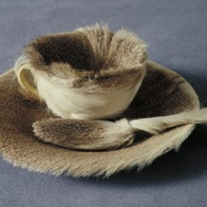 fur lined teacup saucer and spoon