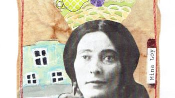 collage with Mina Loy's face superimposed on quilted background of house, laundry line, and domestic objects