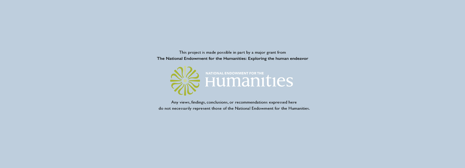 Acknowledgment of grant from National Endowment for the Humanities
