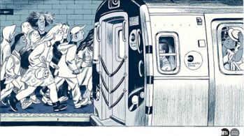 drawing of people crowding onto subway train