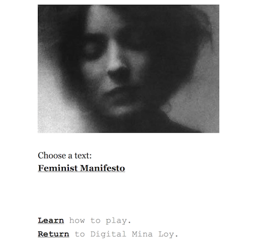Landing page of game featuring photo of Mina Loy