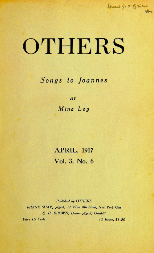 Yellow cover of April 1917 issue of Others Magazine, featuring Loy's Songs to Joannes