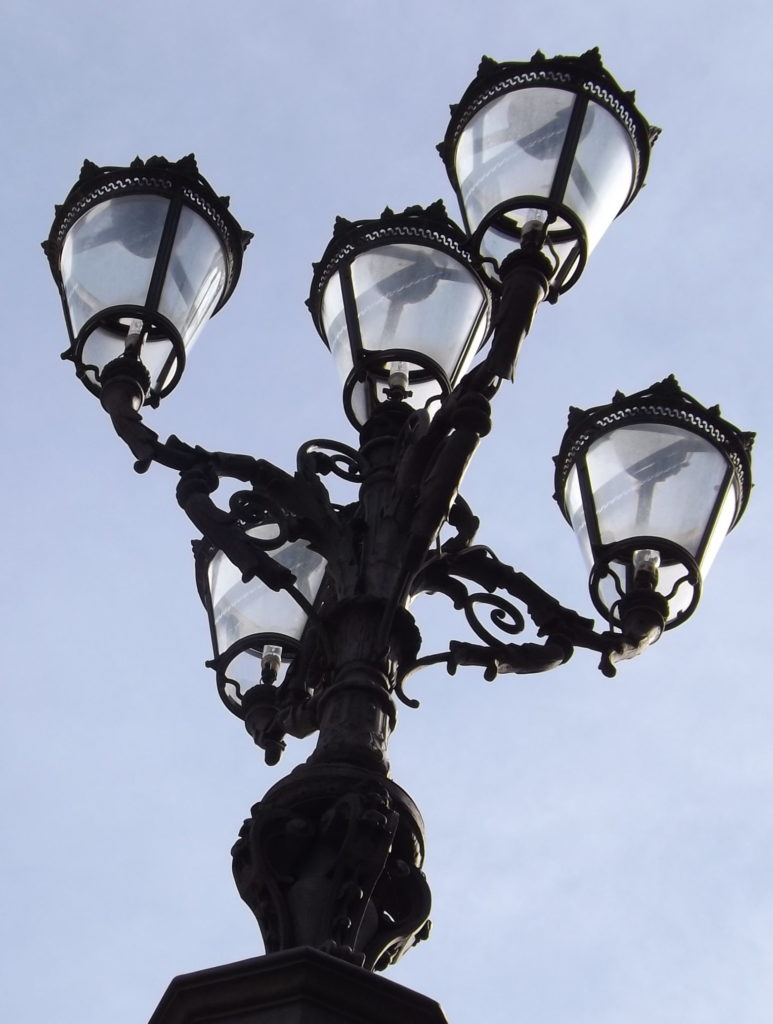 detail of lamps on Piazza Pitti