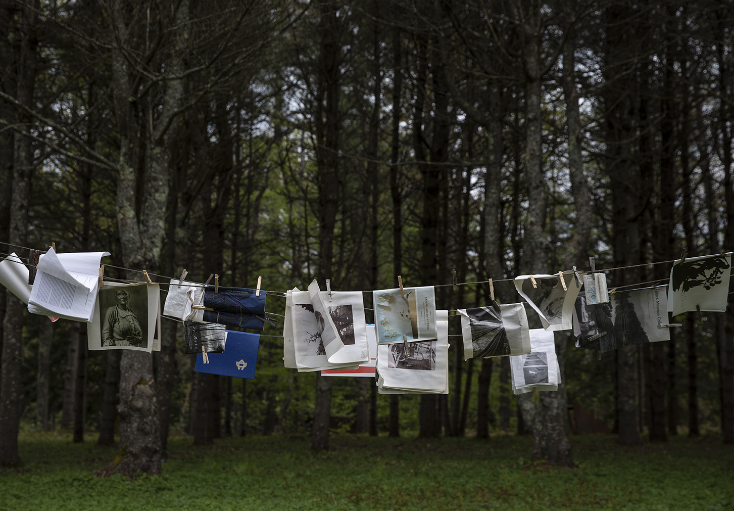 closeline with magazines, manuscripts and photos clipped to it, in front of dark woods.