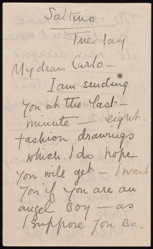 letter from Carl Van Vechten to Loy, about fashion sketches