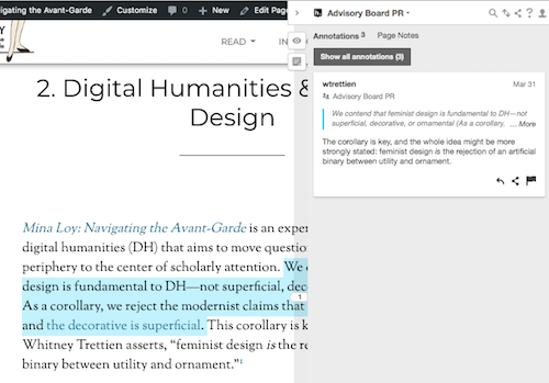 screen shot of Hypothesis annotation in sidebar next to text from one of the scholarly chapters
