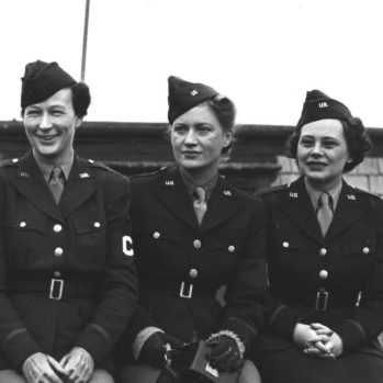 Black and white photograph of group of female war correspondents