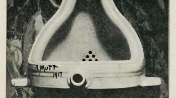 Black & white photo of overturned urinal, signed R. Mutt