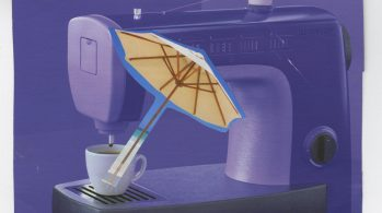 collage of sewing machine, umbrella, and coffee