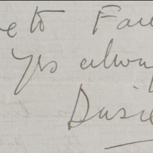 Love to Fania, yrs always Dusie-