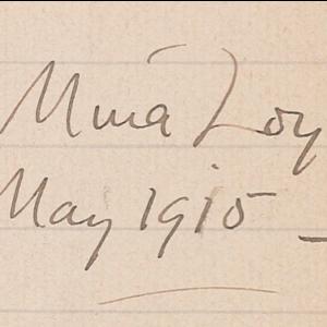 Mina Loy, May 1915 —