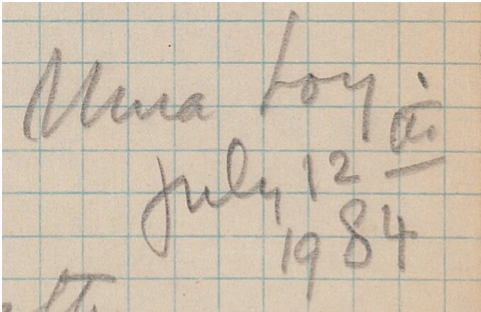 Mina Loy, July 12th 1984