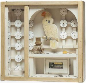 Joseph Cornell's Aviary, glass-fronted box with bird sculpture