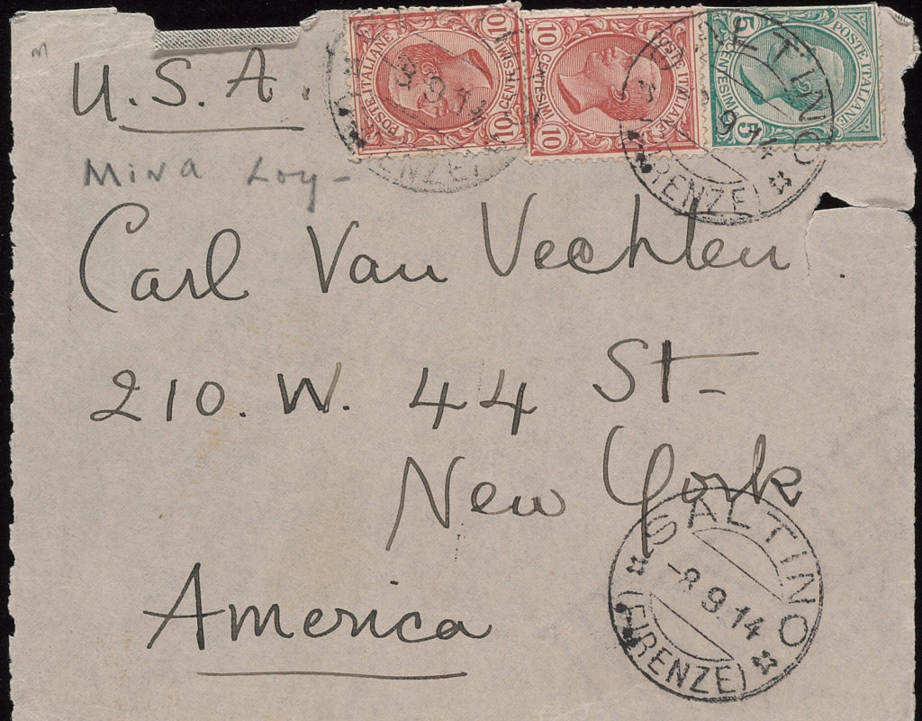 addressed envelope from Loy to Van Vechten
