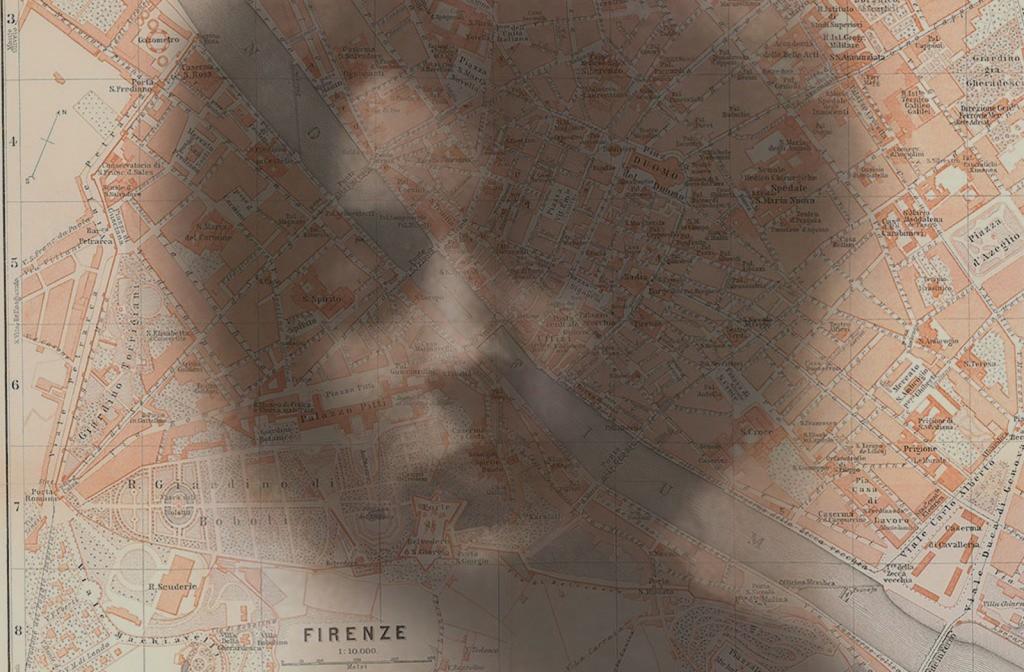 Loy headshot superimposed on Florence Baedeker map