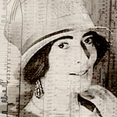 Loy portrait overlaid on parallax grid