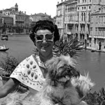 black and white photograph of Peggy Guggenheim