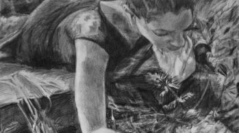 charcoal drawing of woman bending over plant